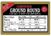 NUTRITION FACT Labels for Beef, Chicken, Lamb, Pork, Turkey